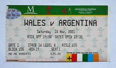 Wales Argentina Rugby Union Ticket 2001