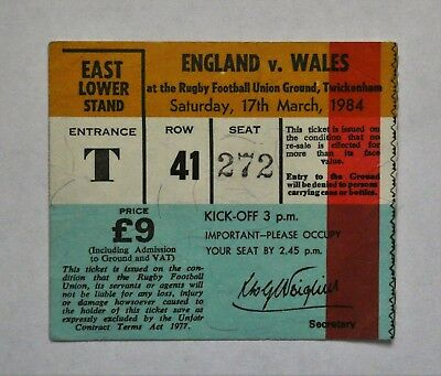 England Wales Rugby Union Ticket 1984