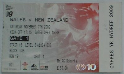Wales New Zealand Rugby Union Ticket 2009