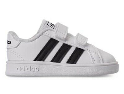 New adidas Grand Court Sneaker, Black/White, Size 7 M US Baby Toddler Shoes