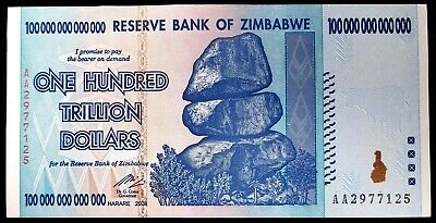 Zimbabwe 100 Trillion Dollars Banknote, 2008 AA P-91! Uncirculated!