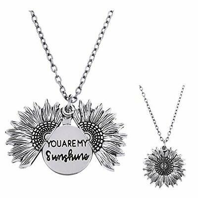 Luofeel You are My Sunshine Engraved Open Locket Sunflower Pendent Silver