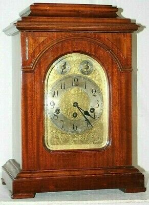 Antique 1913 Massive Junghans Westminster Cherry Bracket Clock W/ Engraved Face.