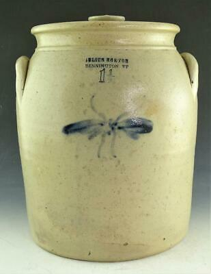 RARE JULIUS NORTON 1 1/2 GALLON BLUE COBALT STONEWARE CROCK JAR WITH LID c1841!