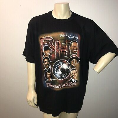 Vintage Black History Tee Shirt 3XL Black Martin Luther King Colin Powell