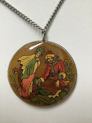 Antique Russian Hand Painted Butterscotch Mother Of Pearl Pendant Necklace