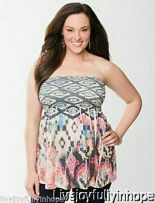 Tribal Smoked SUBLIMATION Babydoll Top Shirt 1X LANE BRYANT ~ NWT New 14 ~RARE