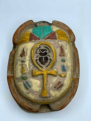 EGYPT EGYPTIAN SCARAB STATUE Antiques Beetle Khepri Relief Carved OLD STONE BC