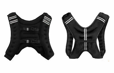 XN8 10kg Weighted Vest Adjustable Jacket Running Weight Loss Gym Fitness Black