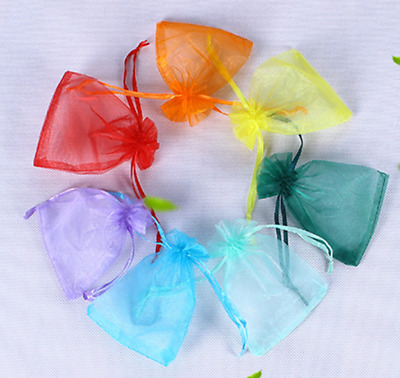 10pcs Mixed color Organza Gift Bag Candy Jewellery Pouch Wedding Birthday 7x9cm