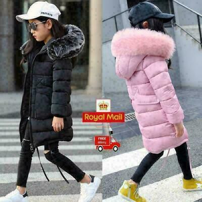 Explosion Girls Kids Padded School Quilted Winter Coat Jackets Puffer Fur Hooded