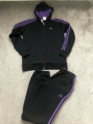 Adidas Tracksuit Age 13-14 Years, Black Purple, Girls, Kids, Adiddas
