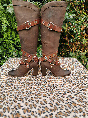 Giancarlo Paoli SGN Brown leather knee high boots made in Italy UK 4 EU 37