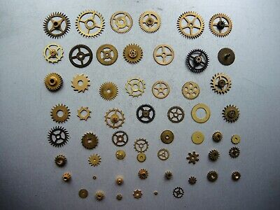 50+ Job Lot of Vintage CLOCK Watch Parts Gears ART Steampunk Repair RESTORE c2a