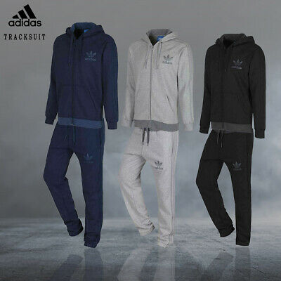 Men's Adidas Originals Fleece Neck Full Tracksuit Bottoms Sportswear Gymwear