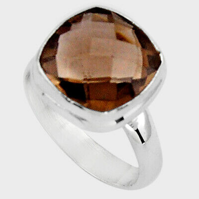 925 Sterling Silver 6.62cts Brown Smoky Topaz Solitaire Ring Size 7 P89929