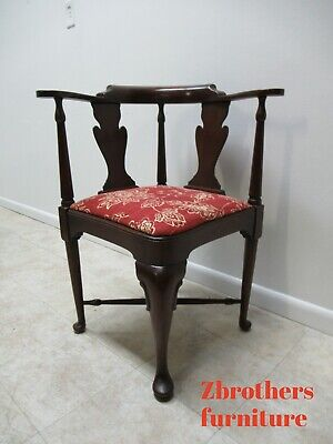 Vintage Statton Furniture Mahogany Chippendale Corner Living Room Chair B