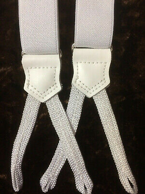 Slim White Braid End Braces Braces by Tails and the Unexpected - 25mm Made in UK