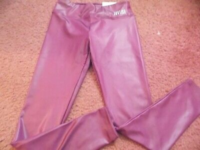 justice- -size 10--Shimmer -leggings-full length--wide band- maroon--nwt