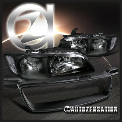 Fit 00-03 Nissan Sentra Black Clear Headlights Pair Head Lamps+Front Hood Grille