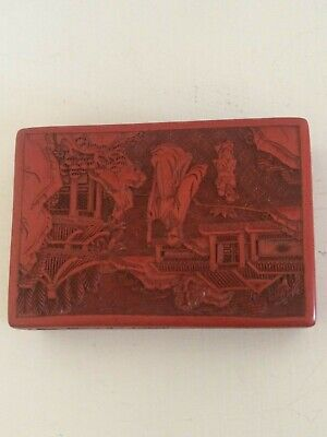 Chinese Cinnabar Lacquer trinket box carved red design 2 piece older