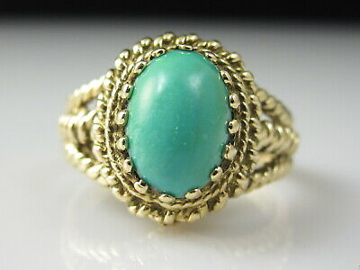 Turquoise Ring Vintage Estate 14K Yellow Gold Rope Cabochon Retro Period Jewelry