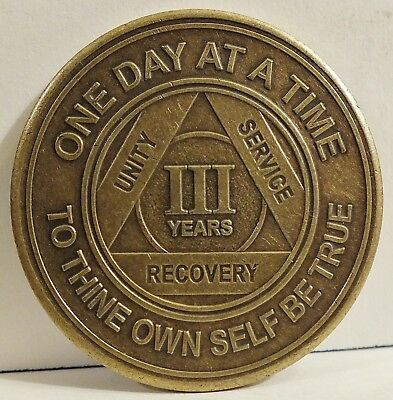 Alcoholic 3 Year Recovery 3 Yr Chip Medallion Coin Medal Token  AA Anonymous