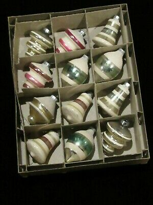SHINY BRITE SET OF 12 ORNAMENTS - MOSTLY MICA ORIG BOX NICE SET EARLY 1940s