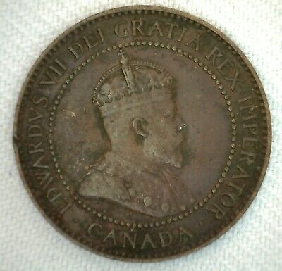 1906 Canada One Cent Coin Large Cent 1c Very Fine Bronze