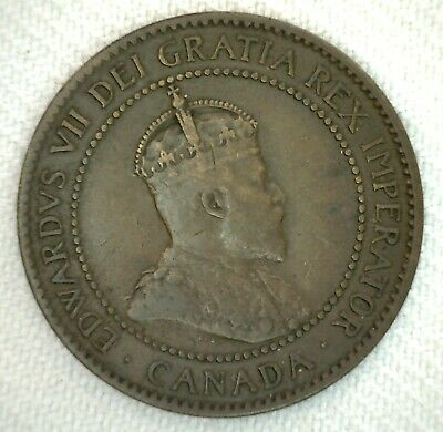 1906 Canada One Cent Coin 1c Large Cent Bronze Very Fine