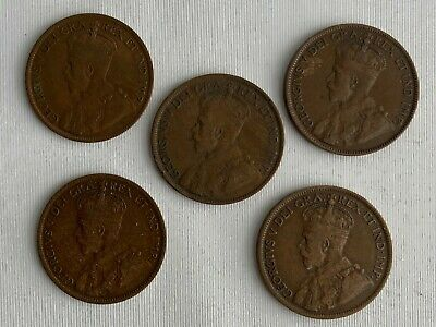 5 Coin Lot 1916-1919 Canada Large Cent Bronze Coins 1c Canadian Coins