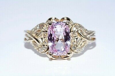 $3,700 2.07Ct Agl Certified Natural Light Pink Sapphire & Diamond Ring 14K Gold