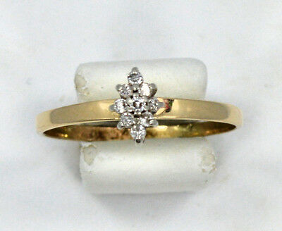 14kt Solid Yellow Gold Petite Diamond Cluster Ring ~ Size 7 3/4 ~ 1.3 Grams