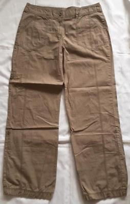 Marks and Spencer Beige 100% Cotton Turn Ups 3/4 Crop Trousers Size 12 (C3)