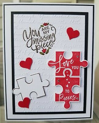 VALENTINE'S DAY Card Kit, Stampin Up LOVE YOU TO PIECES, Puzzle, Love, Heart,