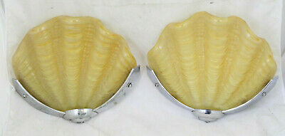 Pair Vintage Frosted Glass Shell And Metal Art Deco Slip Shade Wall Sconce Lamp