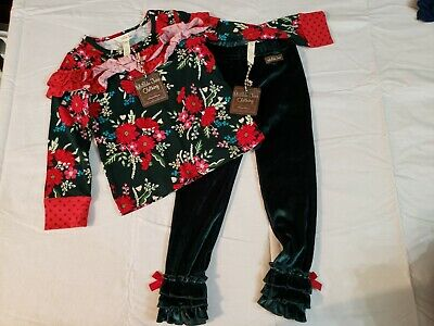 Matilda Jane Holiday Most Wonderful Time top and Tinsel Ruffle leggings NWT sz 4