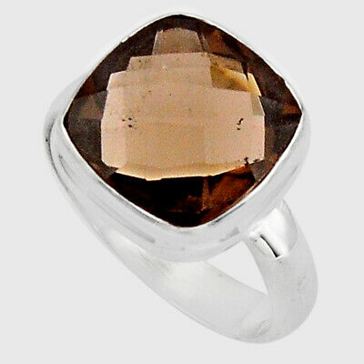 7.67cts Brown Smoky Topaz 925 Sterling Silver Solitaire Ring Size 8 P89928