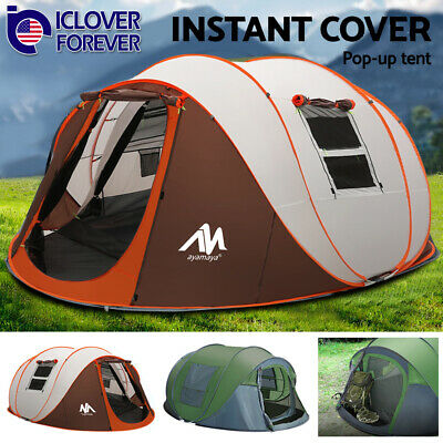 Instant Pop Up Camping Tent 4-6 Person Family Waterproof Backpacking Hiking Dome