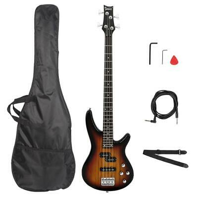"""Glarry Sunset GIB 34"""" Right Handed 4 String Electric Bass Guitar w/ Bag Strap"""