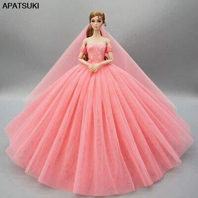 Pink Wedding Dress for Barbie Doll Clothes Princess Evening Dresses Party Gown