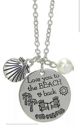 "Beachy ""Love You To The Beach And Back"" Silver Tone Necklace"