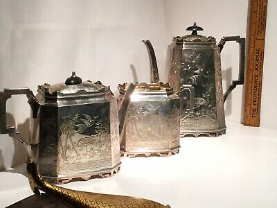 Antique Victorian Aesthetic Walker & Hall 3 Pc. Silver Plate Coffee/Tea Set