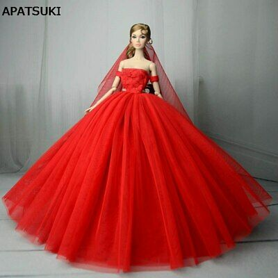 Red Wedding Dress for Barbie Doll Evening Party Gown Clothes Dress Outfits Veil