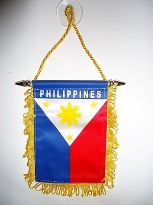 Philippine Pinoy Pinay Flag window hanging Mini banner Car Badge