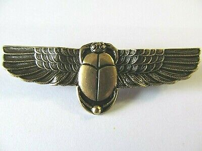 Antique Wide Brass Gold Plated Egyptian Revival Winged Scarab Beetle Brooch Pin
