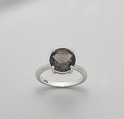 Solid Sterling Silver 10mm Chocolate Brown Natural Smokey Topaz Engagemen Ring
