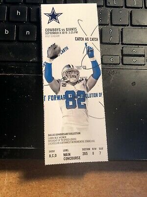 2019 Dallas Cowboys Vs New York Giants NFL Ticket Stub 9/8 Daniel Jones Debut