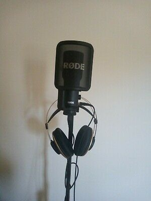 Music Recording Setup - Rode USB Condenser Mic, AKG Gold Headphones, Mic Stand