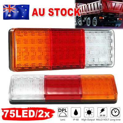 2x LED Tail Lights Brake Reverse Trailer Truck UTE Caravan ADR Approve 75LED AU